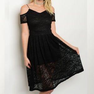 Dresses & Skirts - Lace Cold Shoulder Black Lace Midi Dress